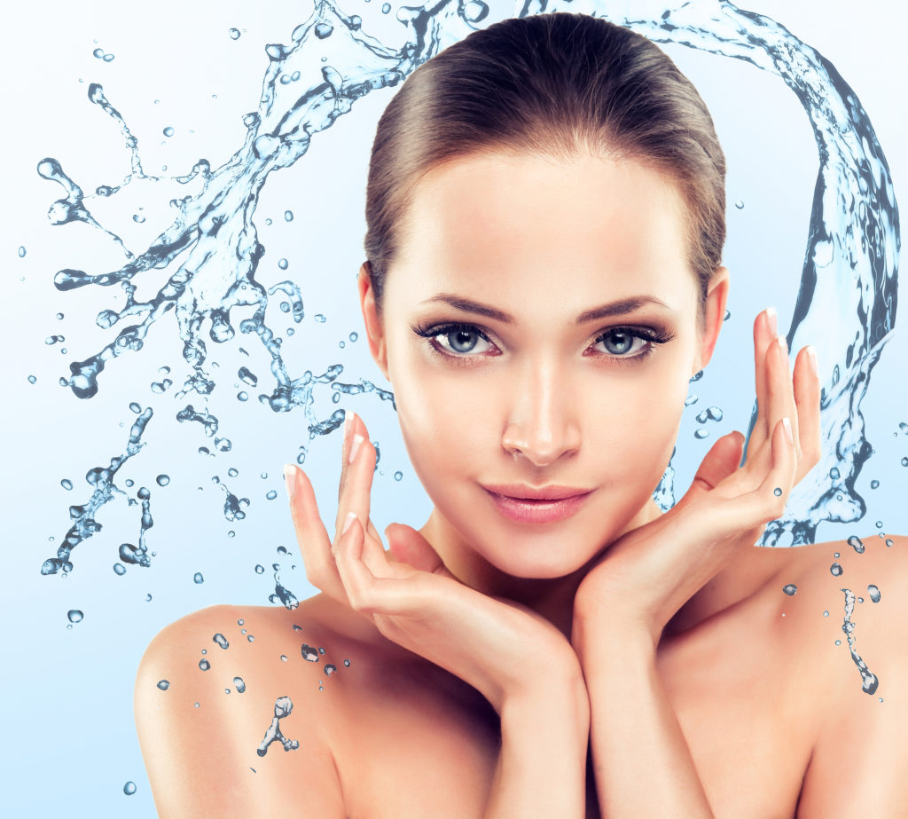 HydraFacial London woman water splashing